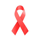 Realistic red ribbon. World aids day symbol isolated on white. Vector illustration