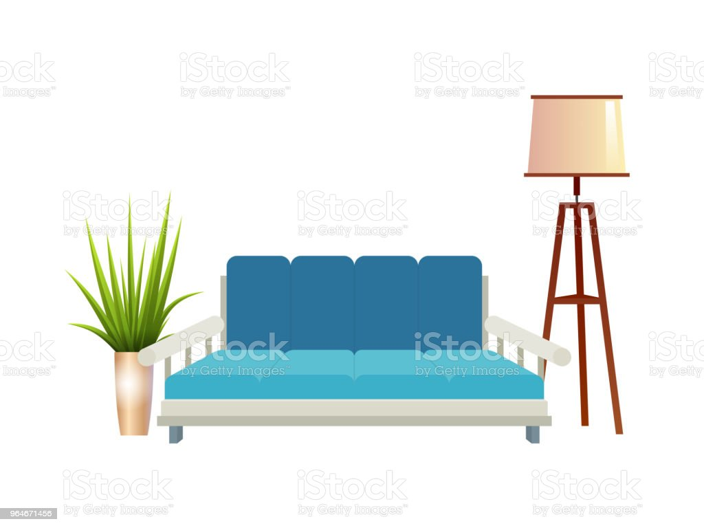Realistic red sofa with floor lamp and flowerpot interior vector illustration royalty-free realistic red sofa with floor lamp and flowerpot interior vector illustration stock vector art & more images of airport departure area