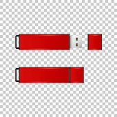 Realistic Red USB flash drive isolated object on transparent background. Vector Illustration