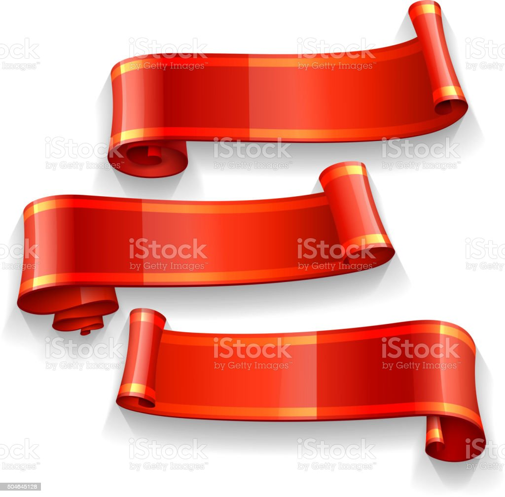 Realistic Red vector ribbons with a yellow stripe vector art illustration