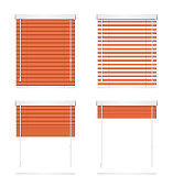 Realistic Red Window Jalousie Roller Shutters Blind Set. Vector