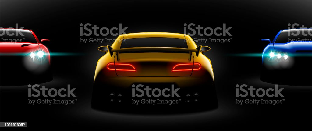 Realistic Red Yellow Blue Three Sport Car View With Unlocked