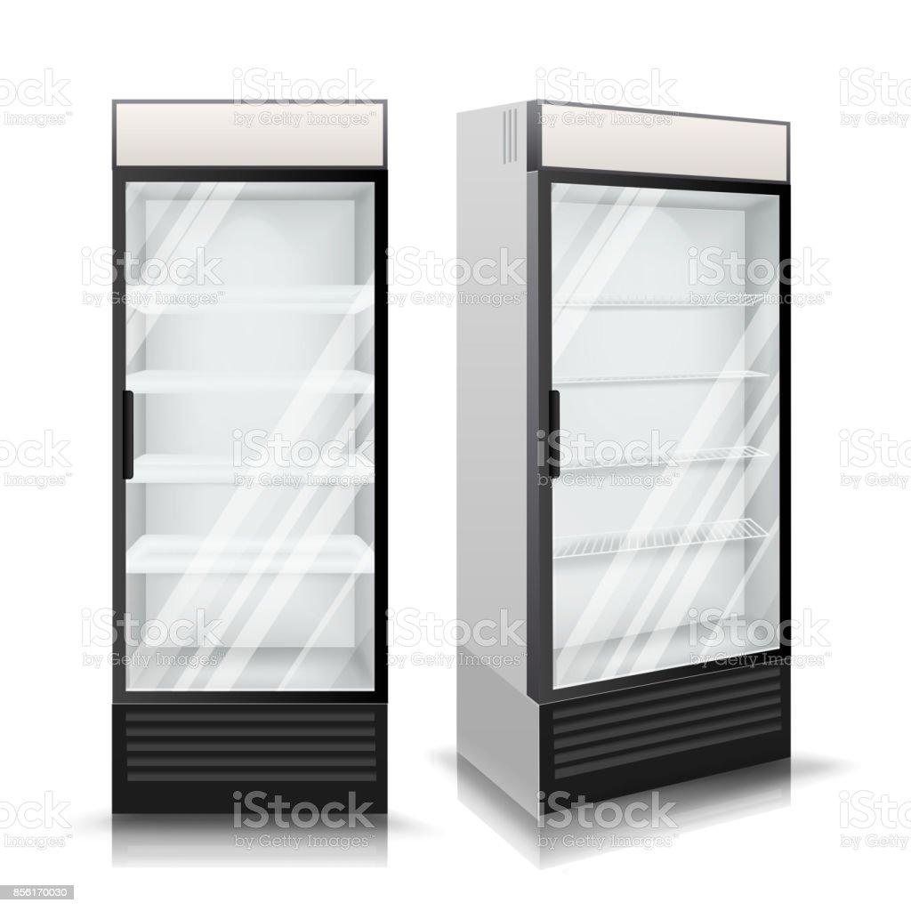 Realistische Kühlschrank Vektor Kühlende Getränke Isolierte ...