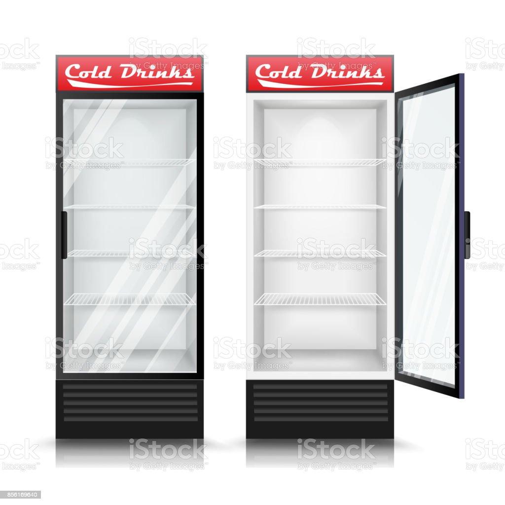 Realistische 3d Kühlschrank Vektor Glas Tür Kühlschrank Isoliert ...