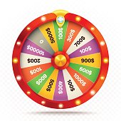 Realistic retro spinning wheel of fortune or luck.