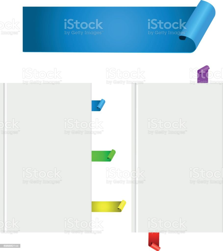 Realistische Farbband Papierscrollbanner Lesezeichen Buchen Sie ...
