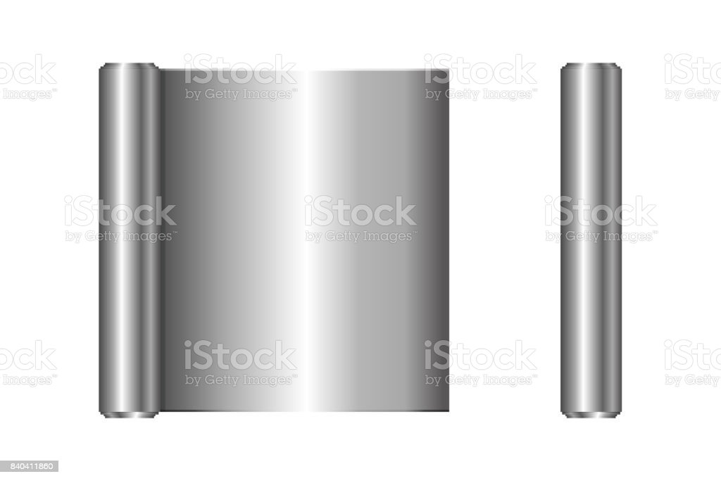 Realistic roll of aluminium foil, icon. Vector illustration. vector art illustration