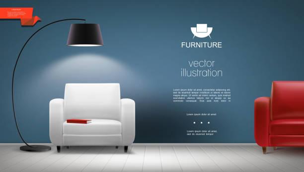 Realistische Raum-Innen-Hintergrund – Vektorgrafik