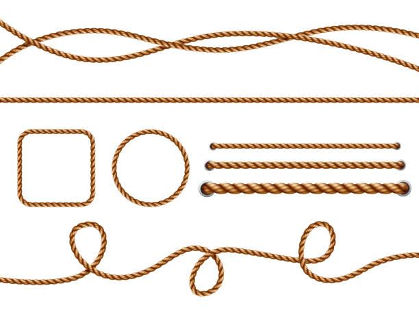 stockillustraties, clipart, cartoons en iconen met realistische touwen. geel of bruin gebogen nautische touwen met knopen vector sjabloon - touw