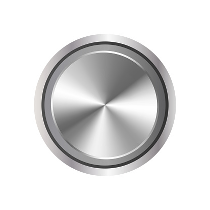 Realistic round relay. Metal button that is spinning isolated on a white background. Vector.