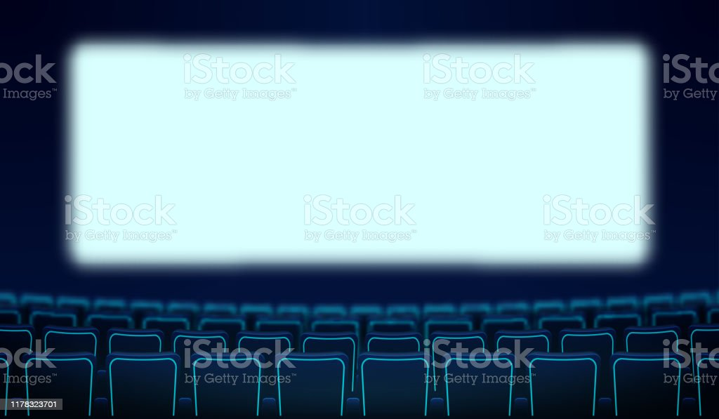 Realistic Rows Of Blue Chairs Cinema And White Blank Screen In The Darkness Cinema Auditorium And Movie Theater Seats Facing Empty Scene Design Vector Cinema Flat Style Cartoon Illustration Stock Illustration