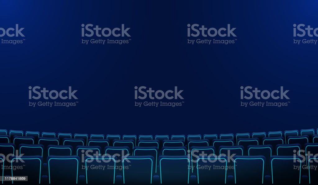 Realistic Rows Of Blue Chairs Cinema Or Movie Theater Seats In The Darkness Cinema Auditorium And Movie Theater Empty Scene Design Vector Flat Style Cartoon Illustration Movie Cinema Premiere Poster Stock Illustration