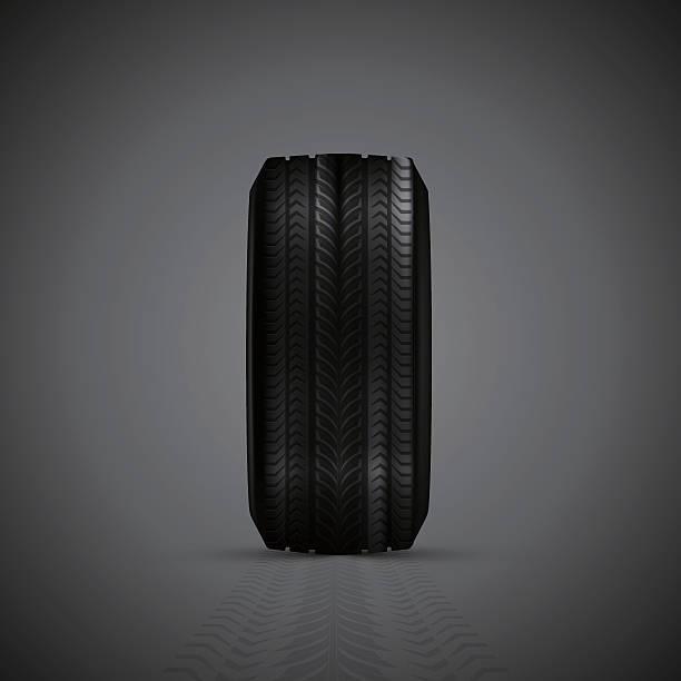 illustrazioni stock, clip art, cartoni animati e icone di tendenza di realistico pneumatici in gomma - close up auto
