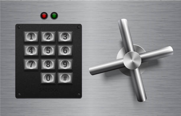 Realistic safe lock metal element on brushed metal background. Stainless steel wheel. Vector icon or design element. Keypad buttons on black plastic panel. Safety privacy protection concept. Safe lock vector safety deposit box stock illustrations