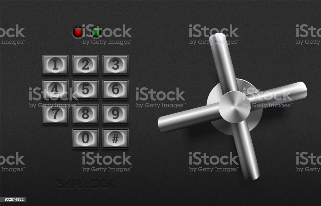 Realistic safe lock metal element on textured black plastic background. Stainless steel wheel. Vector icon or design element. Metal keypad buttons with number. Safety and privacy protection concept vector art illustration