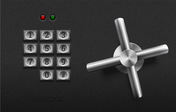 Realistic safe lock metal element on textured black plastic background. Stainless steel wheel. Vector icon or design element. Metal keypad buttons with number. Safety and privacy protection concept Safe lock elements safety deposit box stock illustrations