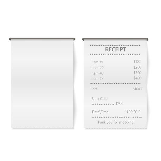 illustrazioni stock, clip art, cartoni animati e icone di tendenza di realistic sales printed receipt. mock up. vector. - scontrino