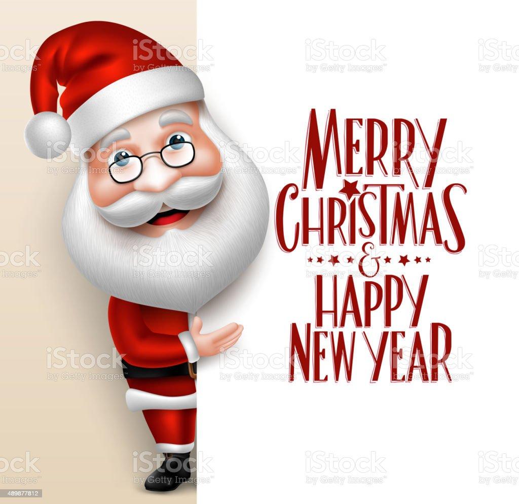 3D Realistic Santa Claus Cartoon Character Showing vector art illustration