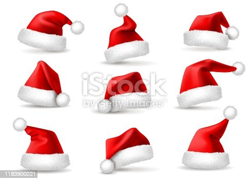 Realistic santa hats. Santa claus christmas holiday caps, celebration fluffy plush cute red winter headwear costume, 3d isolated vector xmas december headdress set