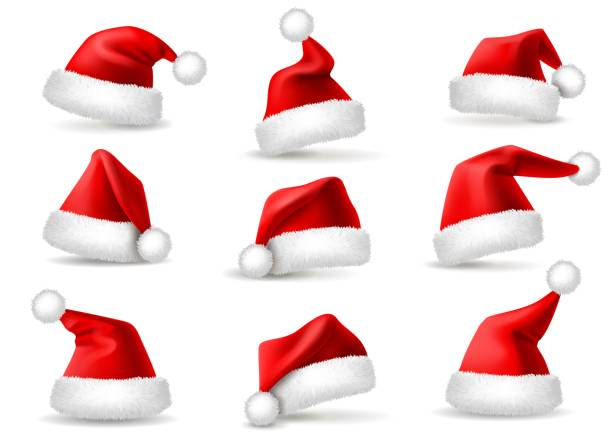 stockillustraties, clipart, cartoons en iconen met realistische santa hoeden. santa claus christmas holiday caps, viering pluizig pluche schattig rode winter hoofddeksels kostuum, 3d-vector set - kerstmanhoed
