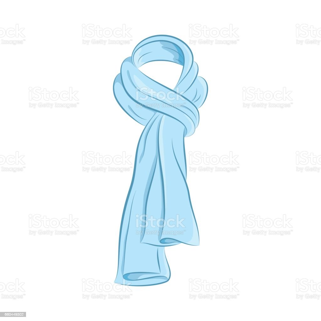Realistic scarf. Women s fashion accessories. The blue object isolated on white background. Vector cartoon illustration in hand drawing style for your design. royalty-free realistic scarf women s fashion accessories the blue object isolated on white background vector cartoon illustration in hand drawing style for your design stock vector art & more images of adult