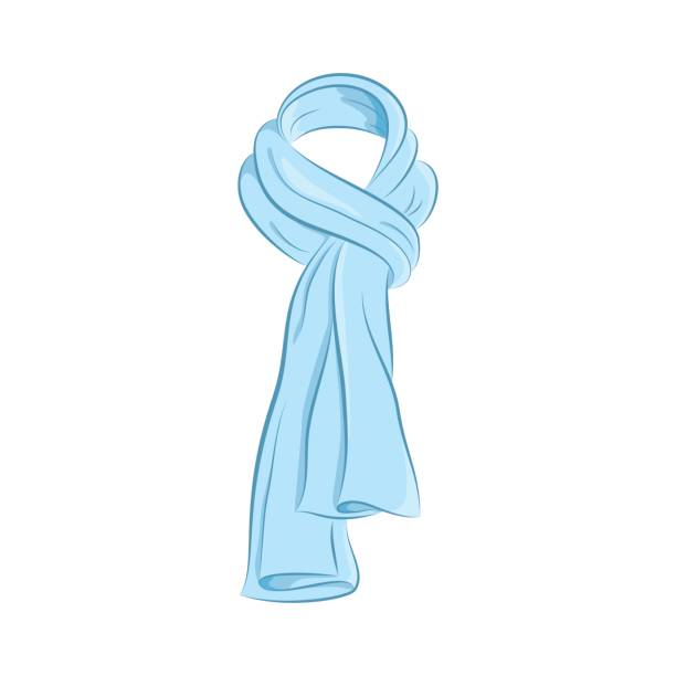 Realistic scarf. Women s fashion accessories. The blue object isolated on white background. Vector cartoon illustration in hand drawing style for your design. vector art illustration