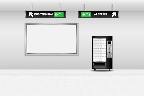 realistic scene design of vending machine in subway station, technology and interior concept - empty vending machine stock illustrations