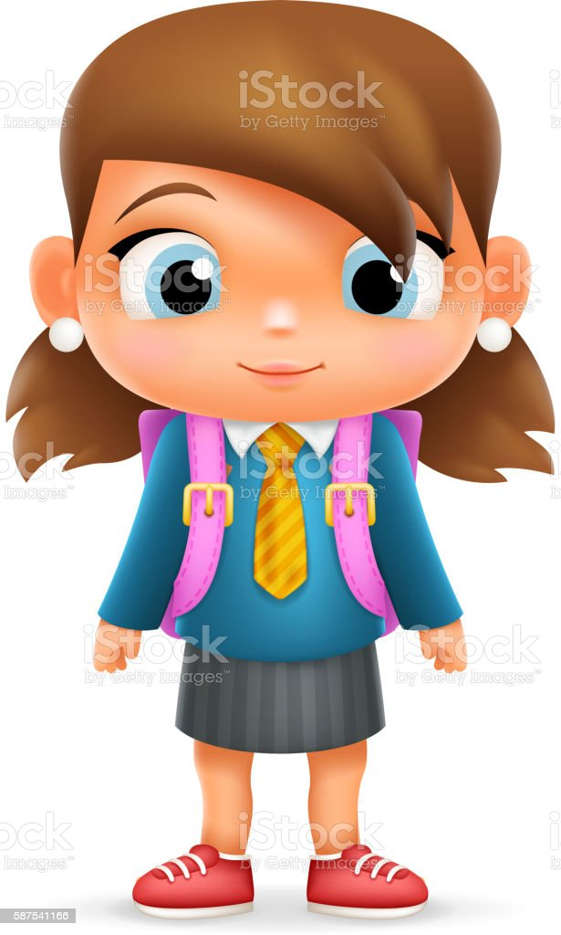 Realistic School Girl Child Cartoon Education Character Icon Design...