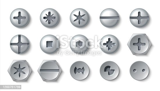 istock Realistic screws. Metal bolt head and steel rivets with washers and nuts. Vector top view of round and hexagonal screws and fasteners 1200751759