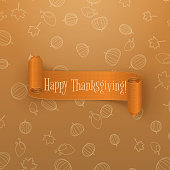 Realistic scroll orange Thanksgiving Banner. Curved Ribbon with Shadows. Holiday vector Design of greeting Card