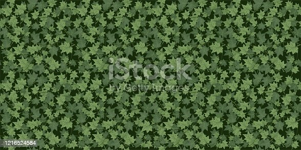 istock Realistic seamless wallpaper, background. Green Ivy braiding wall. Vector 1216524584