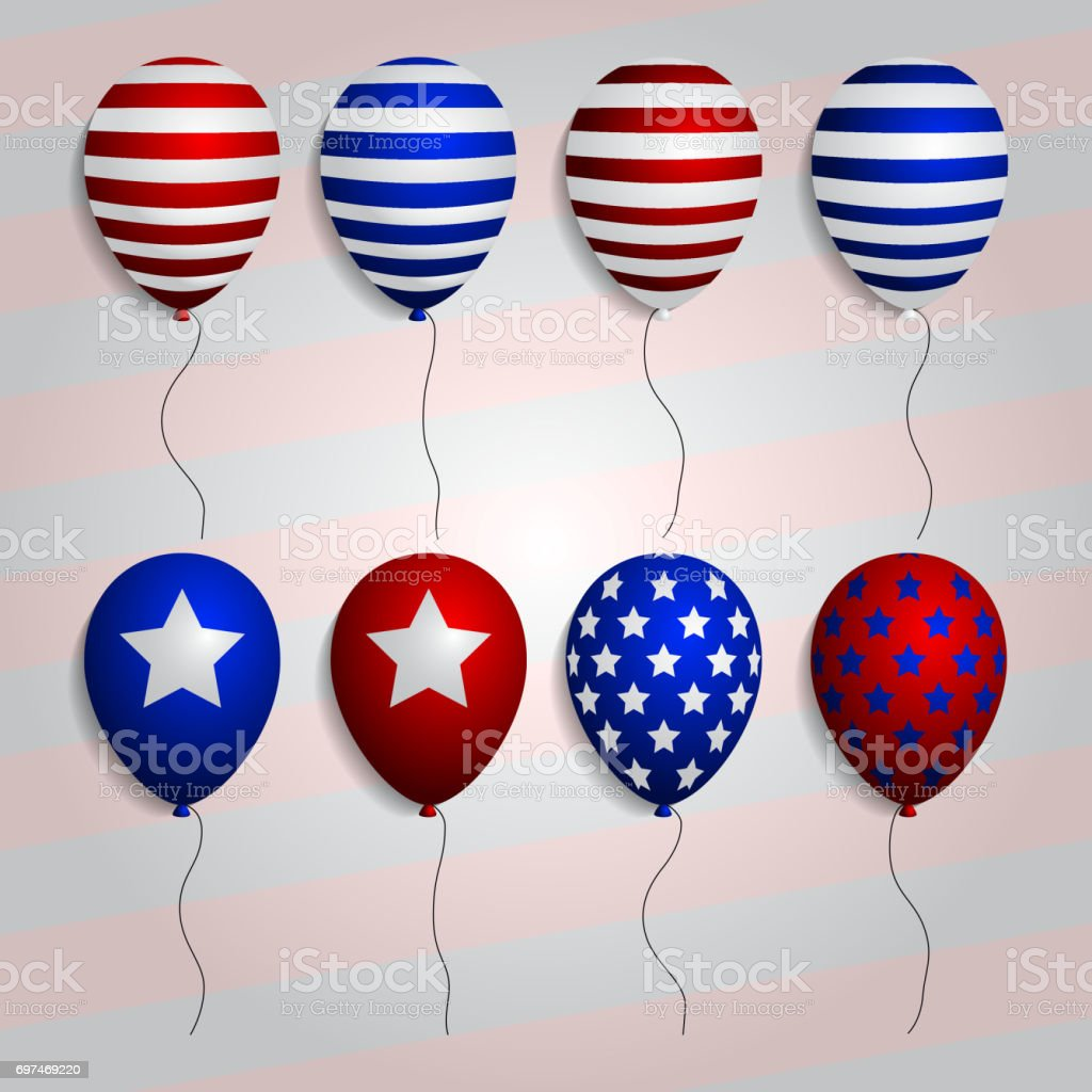 Realistic Set Balloons With American Patriotic Symbols And Colors