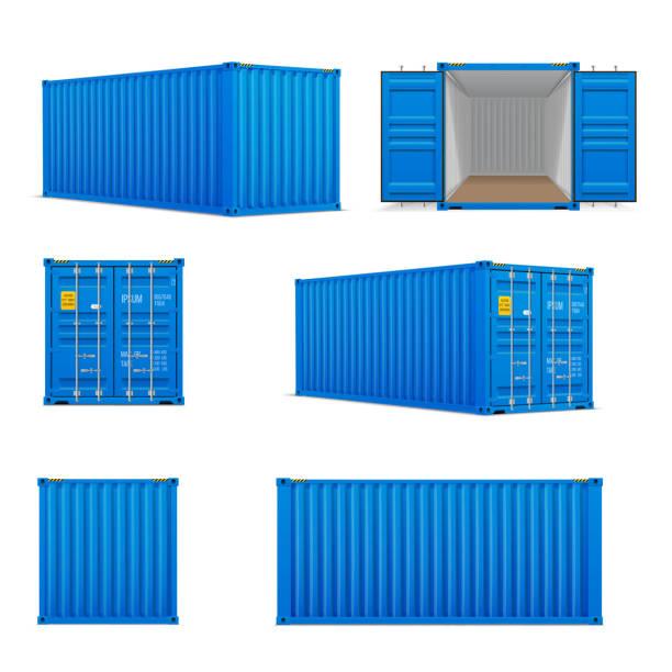 ilustrações, clipart, desenhos animados e ícones de jogo realístico de recipientes azuis brilhantes da carga.   frente, verso e vista de perspectiva - recipiente