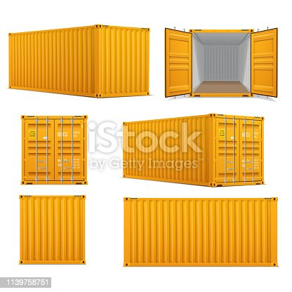 Realistic set of bright yellow  cargo containers.   Front, side back and perspective view.  Open and closed. Delivery, transportation, shipping freight transportation.
