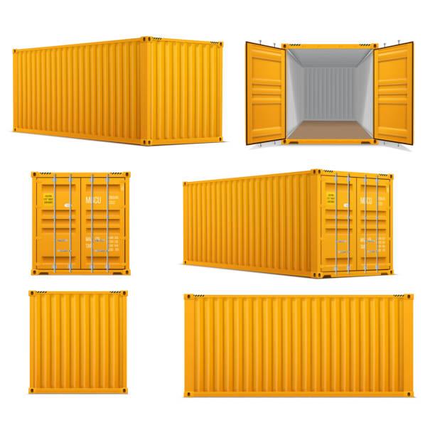 ilustrações, clipart, desenhos animados e ícones de jogo realístico de recipientes amarelos brilhantes da carga.   frente, verso e vista de perspectiva. - recipiente