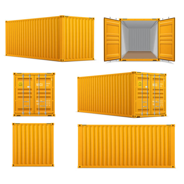 Realistic set of bright yellow  cargo containers.   Front, side back and perspective view. Realistic set of bright yellow  cargo containers.   Front, side back and perspective view.  Open and closed. Delivery, transportation, shipping freight transportation. container stock illustrations