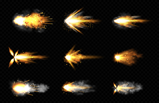 Gun shot with fire and smoke. Weapon firing effects. Vector realistic set of gun muzzle flashes, flying bullets with flame, sparks and smoke clouds isolated on transparent background