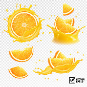 3D realistic set of isolated different vector splashes of orange juice with slices and slices of orange fruit