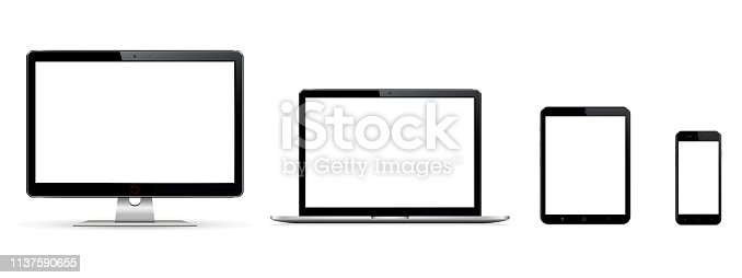 Modern computer monitor, laptop, digital tablet and mobile phone with blank screen. Isolated on white background. Vector illustration.