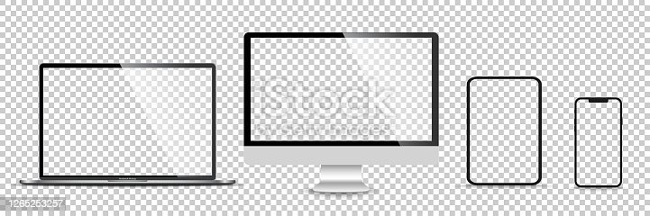 istock Realistic set of monitor, laptop, tablet, smartphone - Stock Vector illustration 1265253257