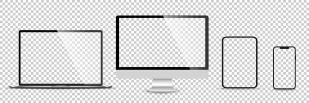 ilustrações de stock, clip art, desenhos animados e ícones de realistic set of monitor, laptop, tablet, smartphone - stock vector illustration - computer