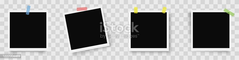 istock Realistic set of photo frames. Photo frames with shadow on on transparent background - stock vector. 1222004469