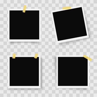Realistic set of photo frames. Photo frames with shadow on on transparent background - stock vector.