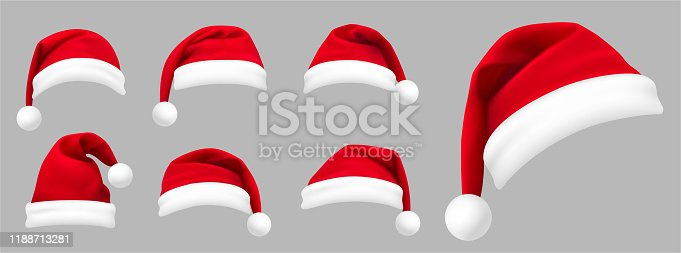Realistic set of red santa hats. New Year red hat. - stock vector.