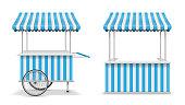 Realistic set of street food kiosk and cart with wheels. Mobile blue market stall template. Farmer kiosk shop mockup. Vector illustration EPS 10