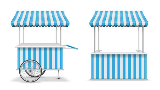 realistische reihe von straßenküchen kiosk und wagen mit rädern. blaue mobilfunkmarkt stall vorlage. bauer-kiosk-shop-modell. vektor-illustration - dachzelt stock-grafiken, -clipart, -cartoons und -symbole