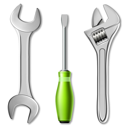 Realistic set of tools of master mechanic or plumber. 3d vector illustration of a wrench, adjustable wrench and screwdriver