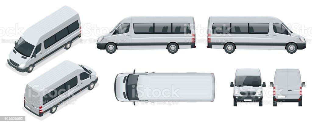 Ilustración de Juego Realista De Van Microbuses De Pasajeros ...
