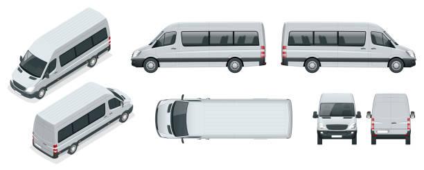 realistische reihe von van vorlage isoliert pkw kleinbus für corporate identity und werbung. blick von der seite, oben, dach, hinten, vorne, isometrische. - vans stock-grafiken, -clipart, -cartoons und -symbole
