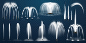 Realistic set of vector fountains. Water jets and white stream of 3d fountain on transparent background. Park or garden aqua decoration, summer cascading liquid splash and spray. Geometric curve